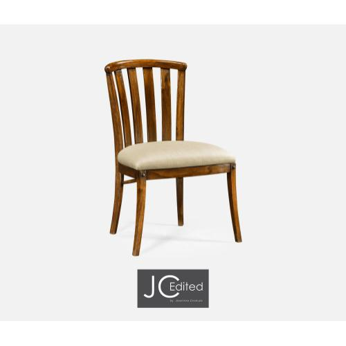 Country Walnut Style Curved Back Side Chair, Upholstered in MAZO