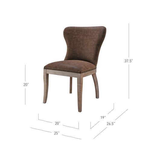 Dorsey PU Dining Side Chair Drift Wood Legs, Nubuck Chocolate