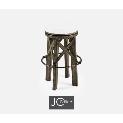 Country Style Dark Driftwood & Iron Bar Stool, Upholstered in COM
