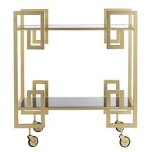 Eliza 2 Tier Bar Cart - Brass / Black Glass