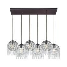 Yardley 6-Light Rectangular Pendant Fixture in Oil Rubbed Bronze with Wire Cage and Clear Crystal