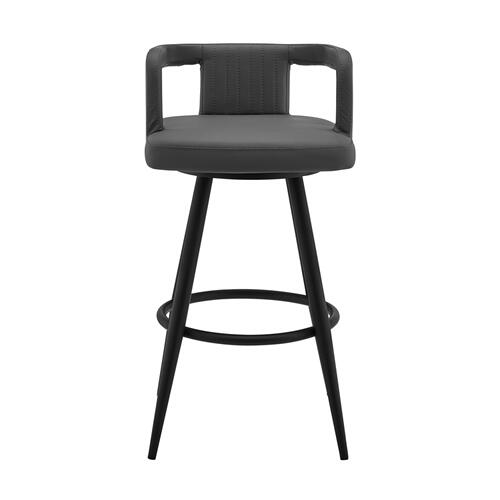 "Gabriele 30"" Gray Faux Leather and Black Metal Swivel Bar Stool"