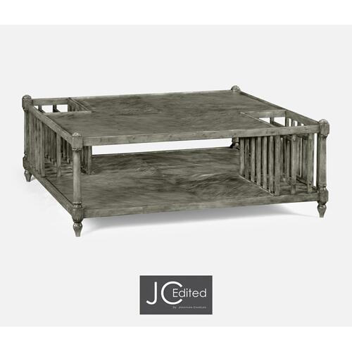 Antique Dark Grey Square Coffee Table with Magazine Rack