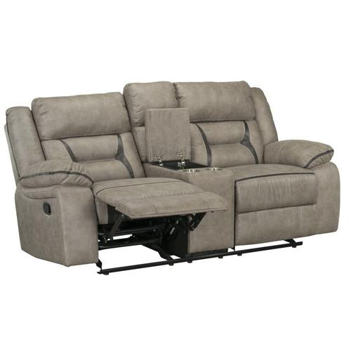 Acropolis Manual Motion Reclining Glider Loveseat with Power Strip, Beige