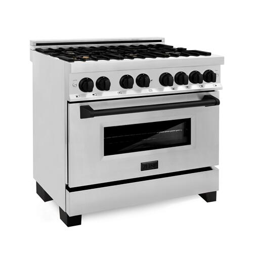 """Zline Kitchen and Bath - ZLINE Autograph Edition 36"""" 4.6 cu. ft. Dual Fuel Range with Gas Stove and Electric Oven in Stainless Steel with Accents (RAZ-36) [Color: Gold]"""