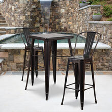 "Commercial Grade 23.75"" Square Black-Antique Gold Metal Indoor-Outdoor Bar Table Set with 2 Stools with Backs"