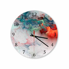 Blue Red Clouds Abstract Round Square Acrylic Wall Clock