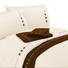 4 PC Embroidered Star Sheet Set, Cream, Chocolate - King / Cream