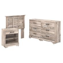 River Brook Bedroom Twin Size Headboard, Dresser and Nightstand Bedroom Set - Barnwood