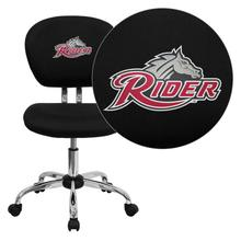 Rider University Broncs Embroidered Black Mesh Task Chair with Chrome Base
