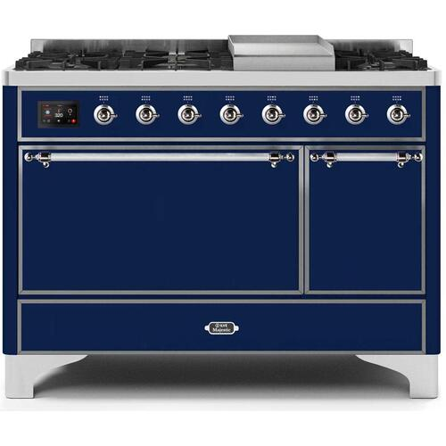 Gallery - Majestic II 48 Inch Dual Fuel Natural Gas Freestanding Range in Blue with Chrome Trim