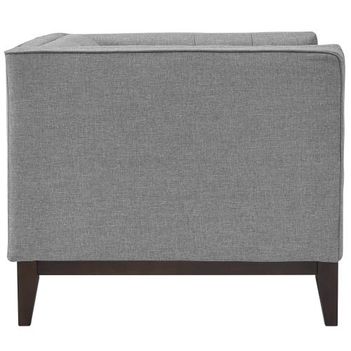 Serve Upholstered Fabric Armchair in Light Gray