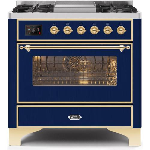 Gallery - Majestic II 36 Inch Dual Fuel Natural Gas Freestanding Range in Blue with Brass Trim