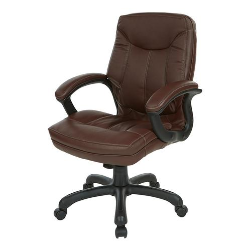 Mid-back Faux Leather Manager's Chair With Padded Arms and Black Nylon Base