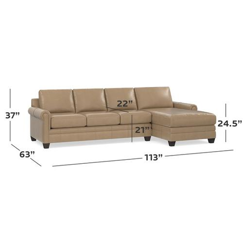 Bassett Furniture - Carolina Leather Right Chaise Sectional