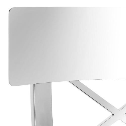 Product Image - Zoey 39'' H Stainless Steel Cross Back Bar Stool - White