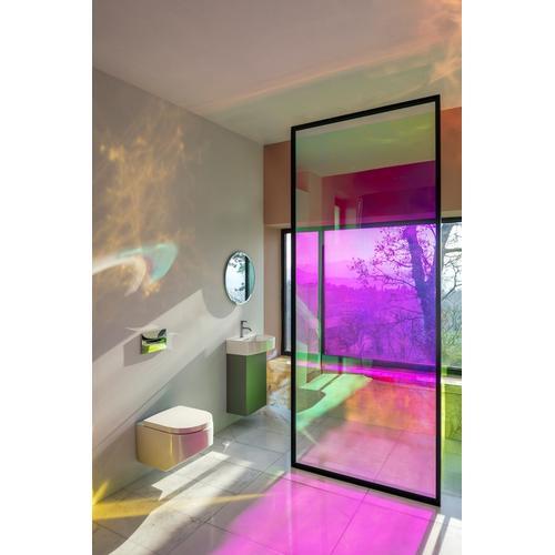 White Matte Vanity unit, 1 door, right hinged, matching small washbasin 815341