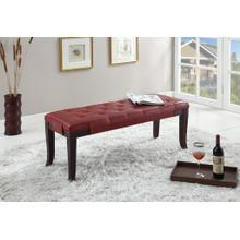 Product Image - Linon Red Leather Tufted Ottoman Bench