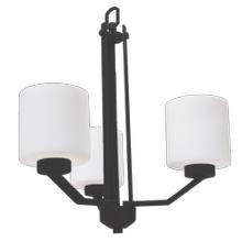 Paris 3-Light Chandelier- Matte Black Finish- White Cylinder Glass
