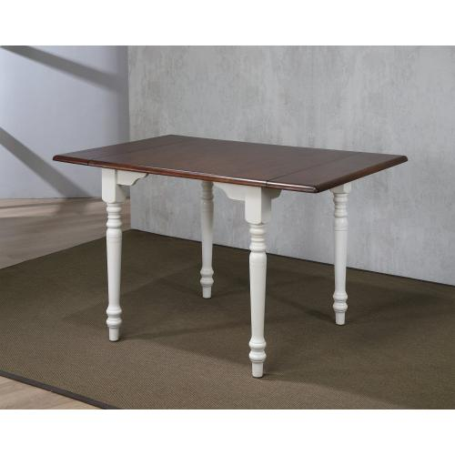 Drop Leaf Dining Table - Antique White with Chestnut Top