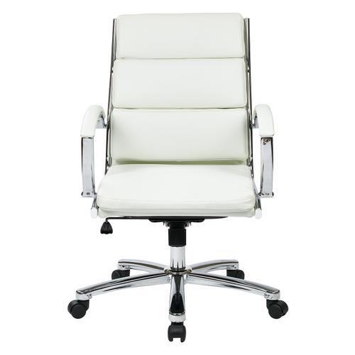 Mid Back Executive White Faux Leather Chair