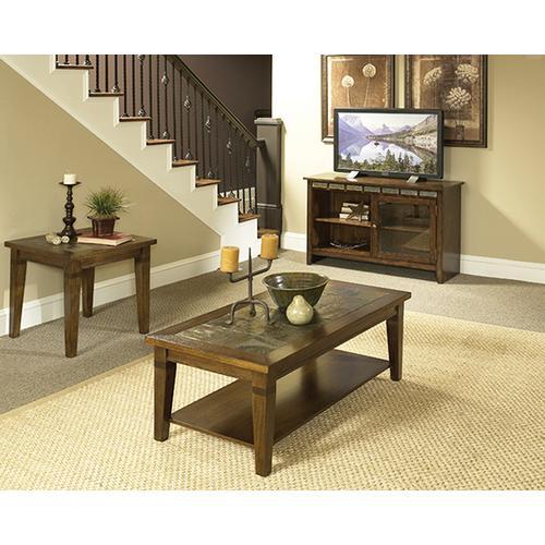 Oak & Slate Coffee & End Table Set
