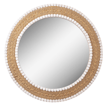 See Details - Natural Woven Wall Mirror with Wood Bead Trim