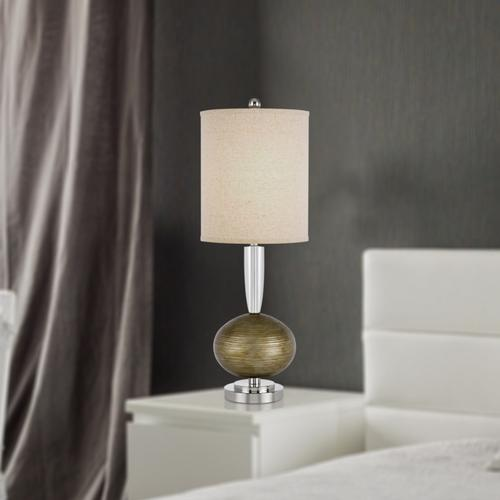 Cal Lighting & Accessories - 150W 3 way Sudbury crystal/metal table lamp with hardback fabric shade. Priced and sold as pairs