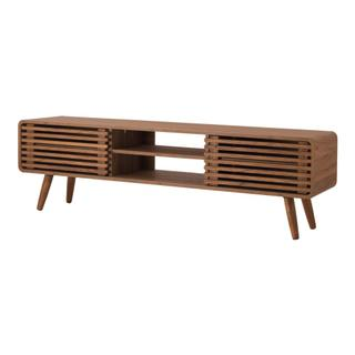 """See Details - Wilson 58"""" KD Slat Low TV Stand, Walnut (ASSEMBLY REQUIRED)"""