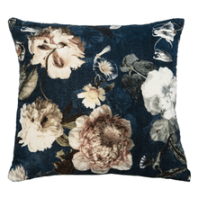 Velvet Blue Floral Pillow