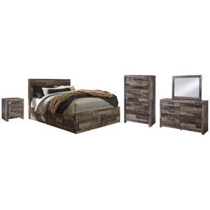 Queen Panel Bed With 6 Storage Drawers With Mirrored Dresser, Chest and Nightstand