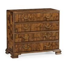 Chippendale Honey Walnut Chest of Drawers