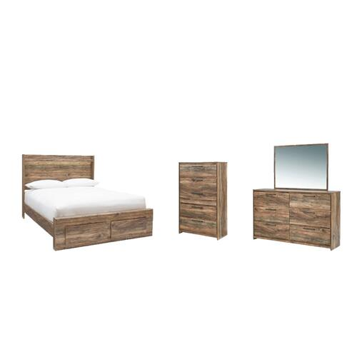Queen Panel Bed With 2 Storage Drawers With Mirrored Dresser and Chest