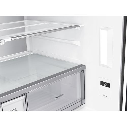 Samsung - 29 cu. ft. Smart BESPOKE 4-Door Flex™ Refrigerator with Customizable Panel Colors in Matte Black Steel