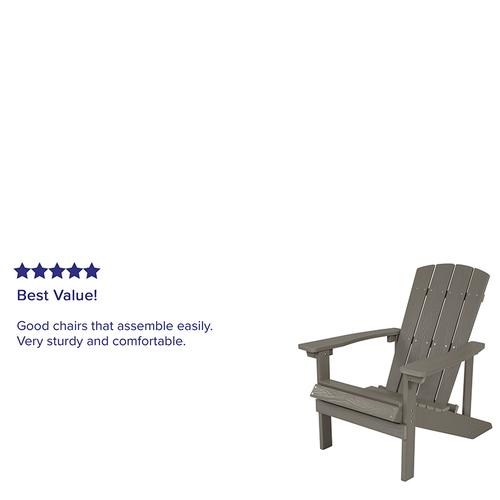 Flash Furniture - Charlestown All-Weather Poly Resin Wood Adirondack Chair in Gray