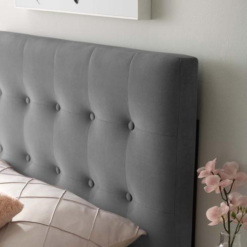 Emily Twin Biscuit Tufted Performance Velvet Headboard in Gray
