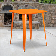 "Commercial Grade 31.5"" Square Orange Metal Indoor-Outdoor Bar Height Table"