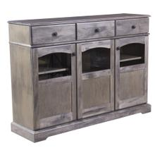 See Details - Maple Traditional Credenza With 3 Doors With Glass Windows, 3 Drawers Antique Black Knobs, 1 Fixed Center Shelf and 4 Adjustable Shelves