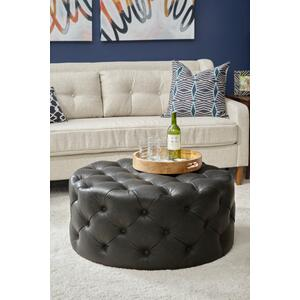 Round Button Tufted Cocktail Ottoman with Casters in Lummus Steel