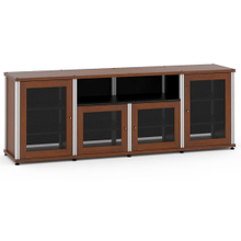 Synergy Solution 345, Quad-Width AV Cabinet, Cherry with Aluminum Posts