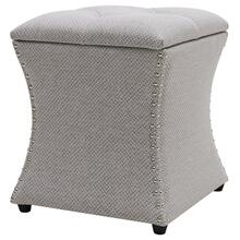 Amelia Fabric Nailhead Tufted Storage Ottoman, Cardiff Gray