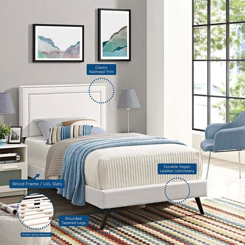 Virginia Twin Vinyl Platform Bed with Round Splayed Legs in White