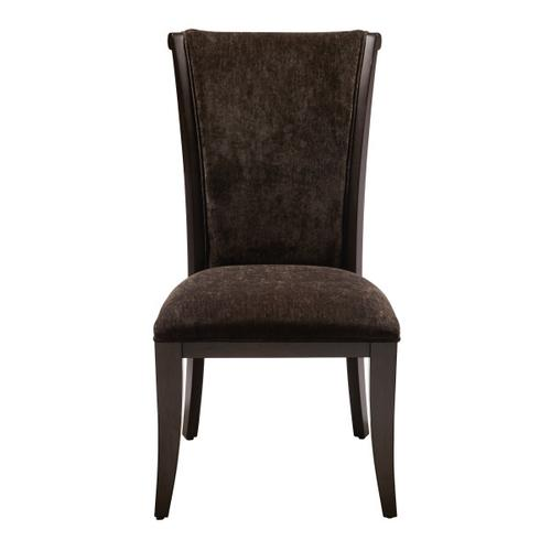 Leather and Fabric Dining Side Chair in Dark Charcoal Grey