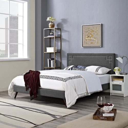 Ruthie Queen Fabric Platform Bed with Round Splayed Legs in Gray