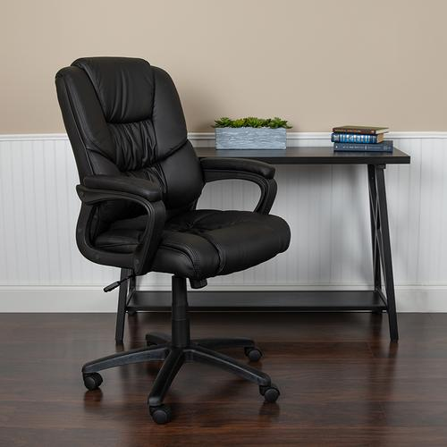 Gallery - Flash Fundamentals Big & Tall 400 lb. Rated Black LeatherSoft Swivel Office Chair with Padded Arms, BIFMA Certified
