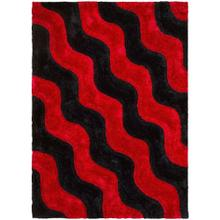 3D-802 RED Wave Row Shaggy Rug