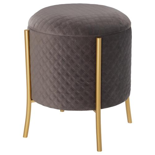 Casper Quilted Velvet Fabric Round Storage Ottoman, Serene Dark Gray