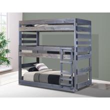 Twin Stackable Triple Bunk Bed w/Queen Rails