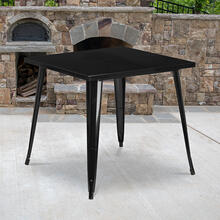 "Commercial Grade 31.75"" Square Black Metal Indoor-Outdoor Table"