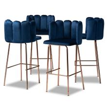 See Details - Baxton Studio Kaelin Luxe and Glam Navy Blue Velvet Fabric Upholstered and Rose Gold Finished 4-Piece Bar Stool Set